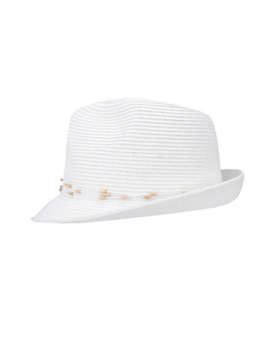 Nine West Packable Classic Fedora Hat-WHITE-One Size