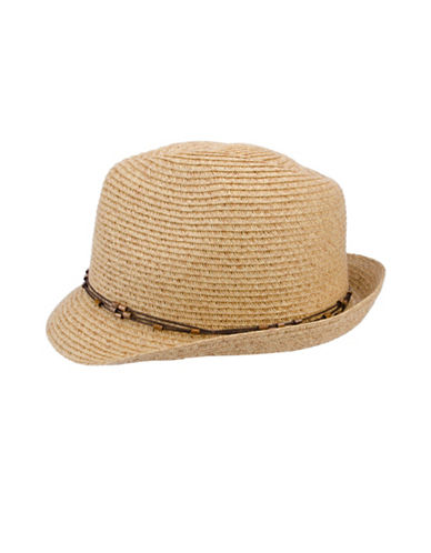 Nine West Packable Classic Fedora Hat-NATURAL-One Size