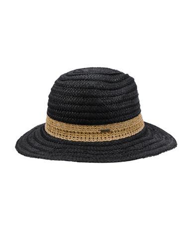Nine West Lace Braid Fedora Hat-BLACK-One Size