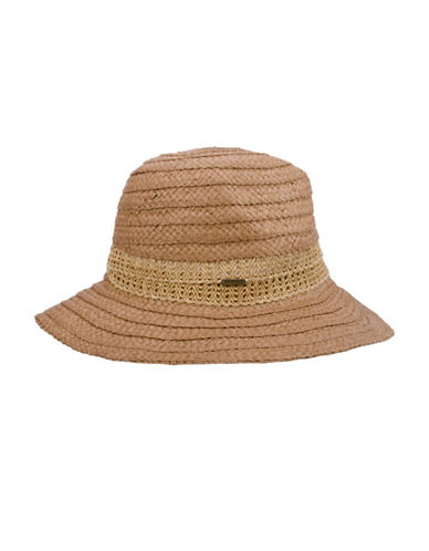 Nine West Lace Braid Fedora Hat-NATURAL-One Size