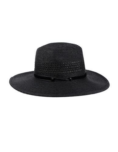 Nine West Packable Panama Hat-BLACK-One Size