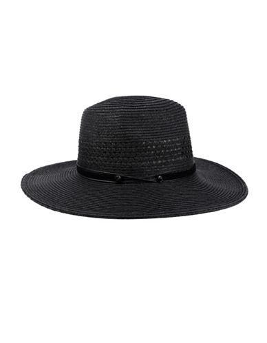 Nine West Packable Panama Hat-BLACK-One Size
