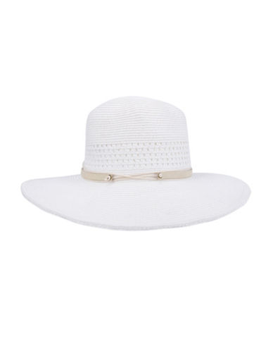 Nine West Packable Panama Hat-WHITE-One Size