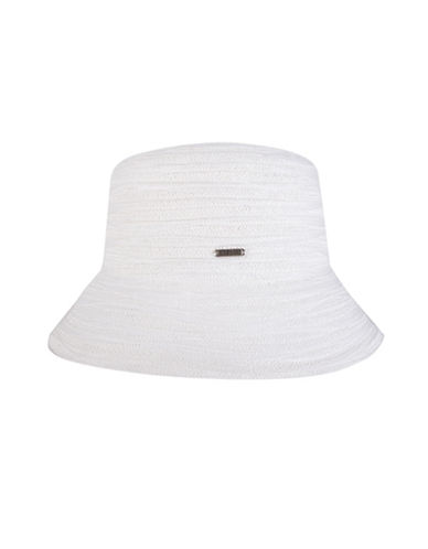 Nine West Wave Ribbon Microbrim Hat-WHITE-One Size