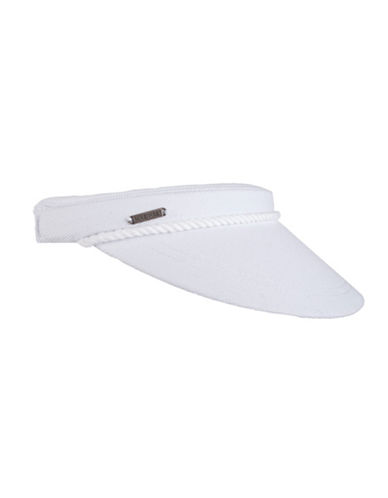Nine West Clip-On Canvas Visor-WHITE-One Size