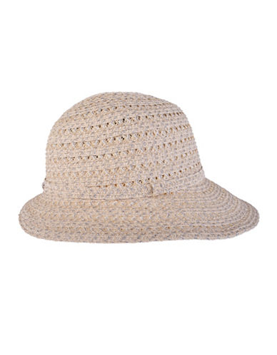 Nine West Metallic Packable Cloche Hat-WHITE-One Size