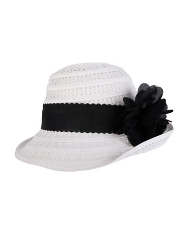 Nine West Packable Flower Cloche Hat-WHITE-One Size