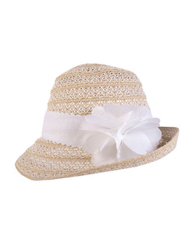 Nine West Packable Flower Cloche Hat-NATURAL-One Size