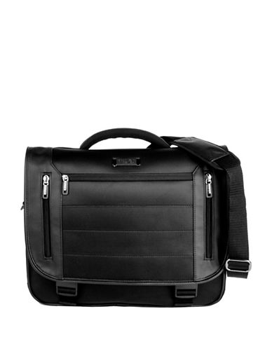 Kenneth Cole Reaction Keystone Triple Gusset Flapover Computer Portfolio-BLACK-One Size