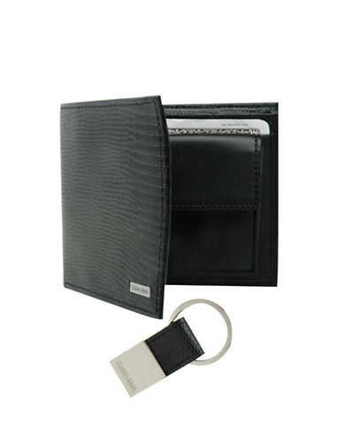 Calvin Klein Lizard Embossed Leather Billfold with Key Fob-BLACK-One Size