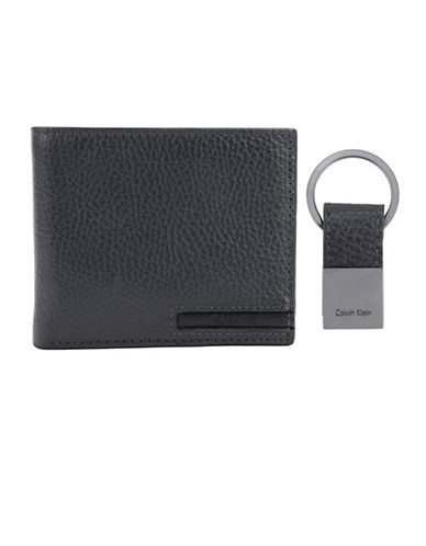 Calvin Klein Pebble Leather Billfold Wallet-GREY-One Size
