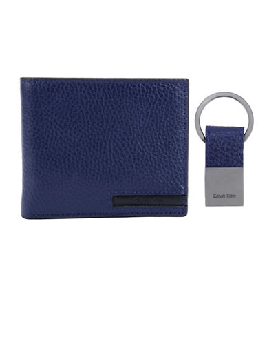 Calvin Klein Pebble Leather Billfold Wallet-NAVY-One Size