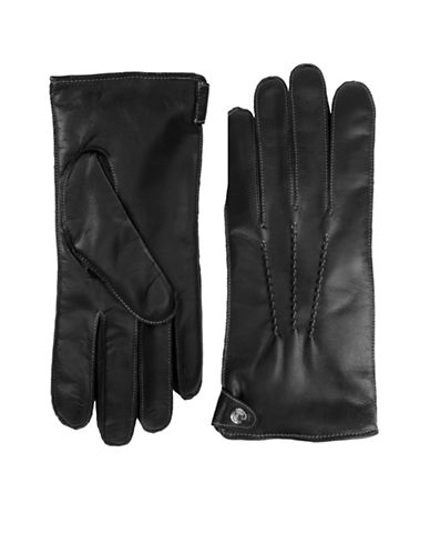 Black Brown 1826 Saddle Stitch Leather Gloves-BLACK-Large