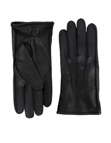 Black Brown 1826 Elasticized Leather Gloves-BLACK-X-Large