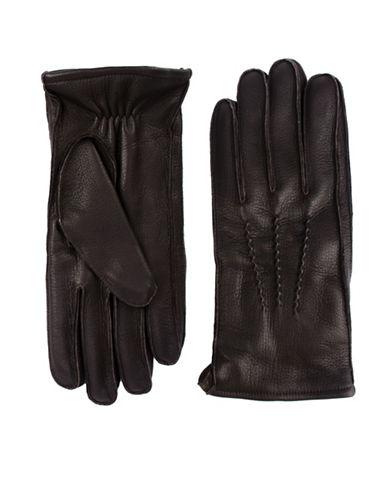 Black Brown 1826 Elasticized Leather Gloves-BROWN-Medium
