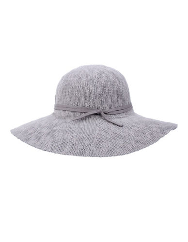 Nine West Textured Knit Floppy Hat-GREY-One Size