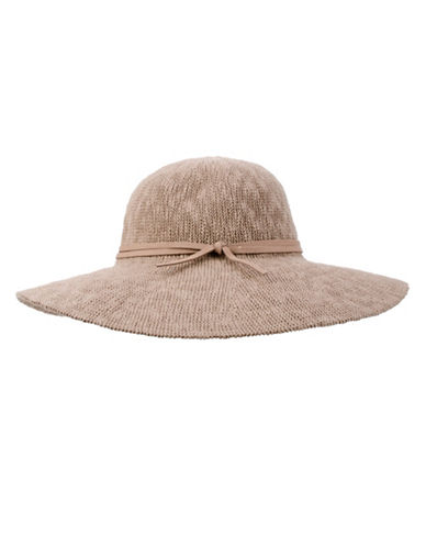 Nine West Textured Knit Floppy Hat-BROWN-One Size