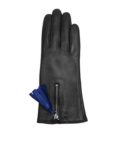 Miscellaneous Tassel Detail Leather Gloves-BLACK-6.5