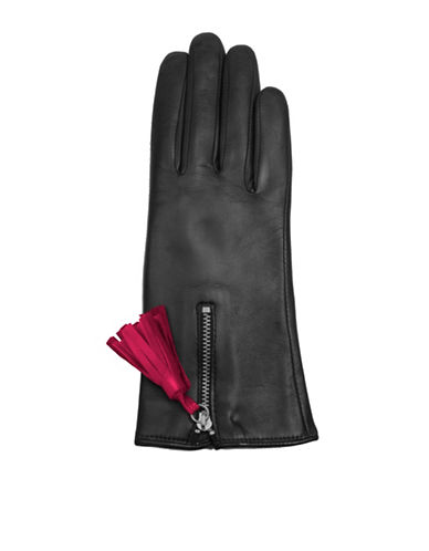 Miscellaneous Tassel Detail Leather Gloves-BLACK-7