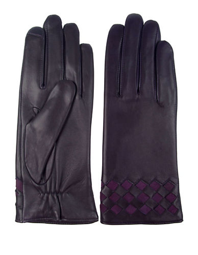 Miscellaneous Basket Weave Leather Gloves-PURPLE-7.5