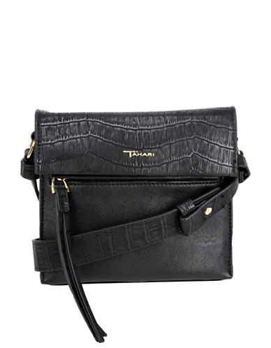 T Tahari Colette North South Crossbody Bag-BLACK-One Size