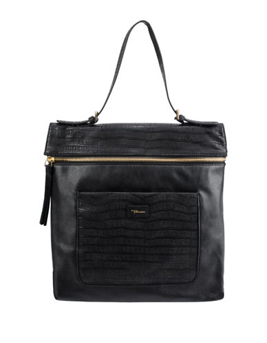 T Tahari Bellah North South Tote-BLACK-One Size