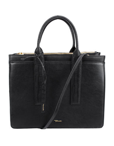 T Tahari Cameran Satchel-BLACK-One Size