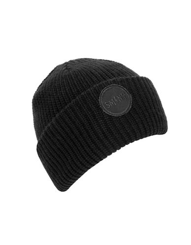 Steve Madden Urban Patch Turn Cuff Beanie-BLACK-One Size