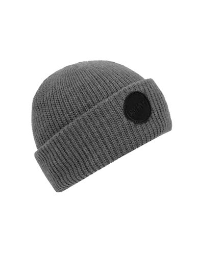 Steve Madden Urban Patch Turn Cuff Beanie-GREY-One Size