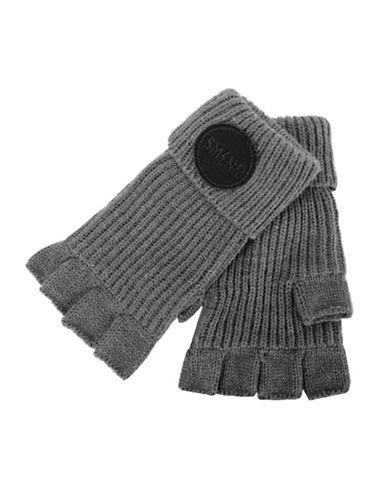 Steve Madden Urban Patch Fingerless Gloves-GREY-Small