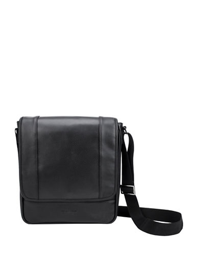 Kenneth Cole Reaction Modern Dress Perforated Messenger Bag-BLACK-One Size