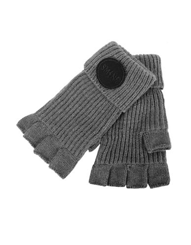 Steve Madden Urban Patch Fingerless Gloves-GREY-Medium