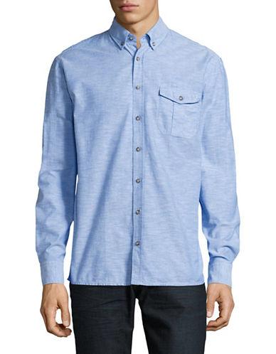 Boss Orange Elabor Relaxed Fit Slub Shirt-BLUE-Small