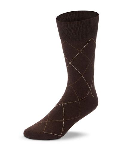 Black Brown 1826 Combed Cotton Argyle Socks-BROWN-7-12