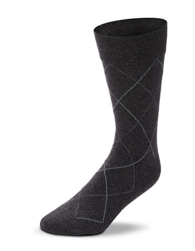 Black Brown 1826 Combed Cotton Argyle Socks-CHARCOAL-7-12