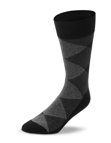 Black Brown 1826 Combed Cotton Argyle Socks-BLACK-7-12