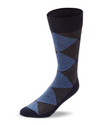Black Brown 1826 Combed Cotton Argyle Socks-NAVY-7-12