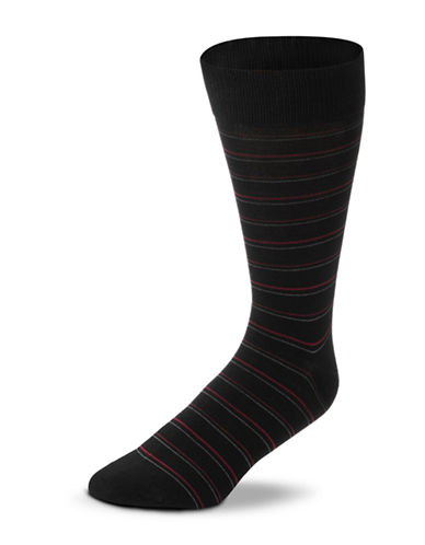 Black Brown 1826 Striped Mercerized Cotton Socks-BLACK-7-12