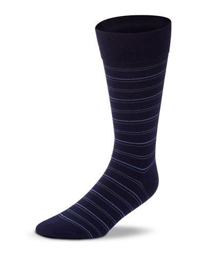 Black Brown 1826 Striped Mercerized Cotton Socks-NAVY-7-12