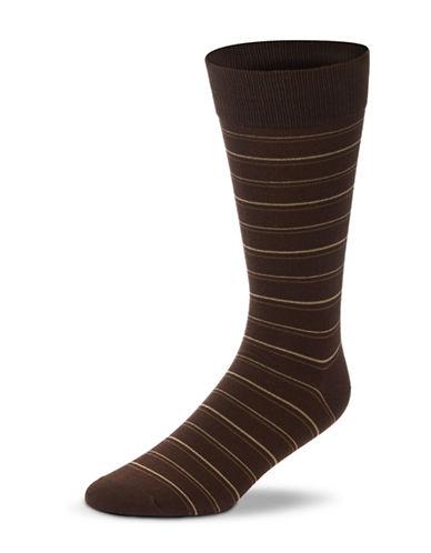 Black Brown 1826 Striped Mercerized Cotton Socks-BROWN-7-12