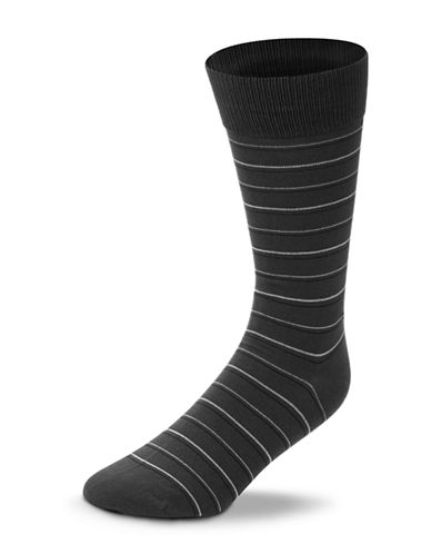 Black Brown 1826 Striped Mercerized Cotton Socks-CHARCOAL-7-12