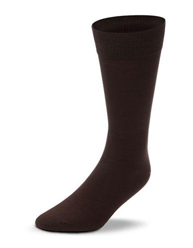 Black Brown 1826 Mercerized Cotton Socks-BROWN-7-12