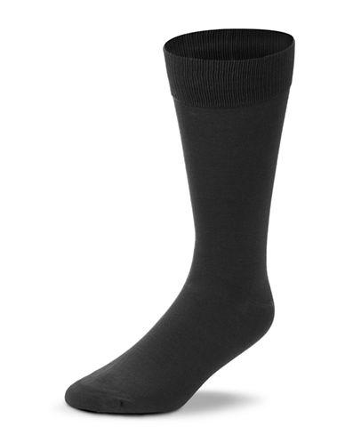 Black Brown 1826 Mercerized Cotton Socks-CHARCOAL-7-12