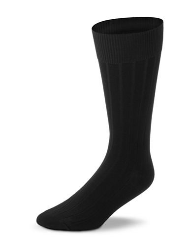 Black Brown 1826 Mercerized Cotton Ribbed Socks-BLACK-7-12