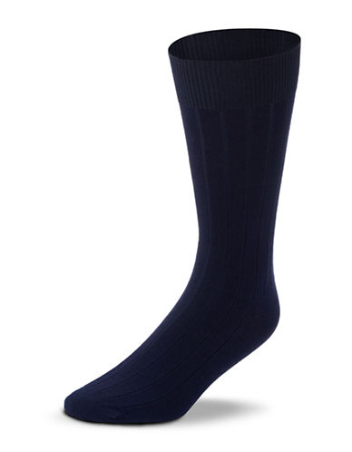 Black Brown 1826 Mercerized Cotton Ribbed Socks-NAVY-7-12