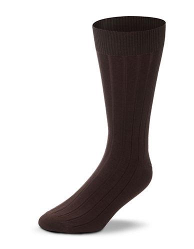 Black Brown 1826 Mercerized Cotton Ribbed Socks-BROWN-7-12
