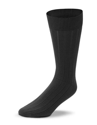 Black Brown 1826 Mercerized Cotton Ribbed Socks-CHARCOAL-7-12