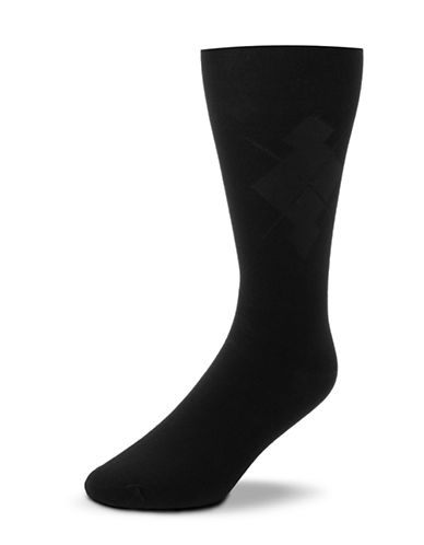 Black Brown 1826 Mercerized Cotton Argyle Socks-BLACK-7-12