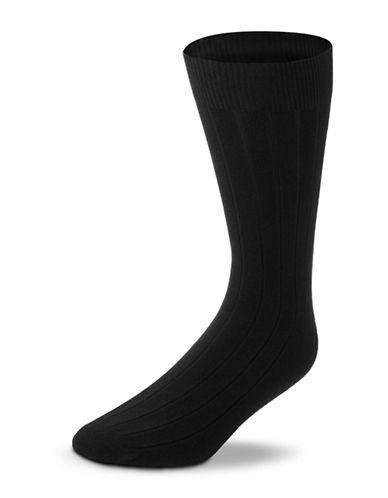 Black Brown 1826 Wool Blend Ribbed Socks-BLACK-7-12