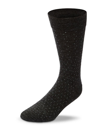 Black Brown 1826 Wool Blend Pin Dot Socks-CHARCOAL-7-12